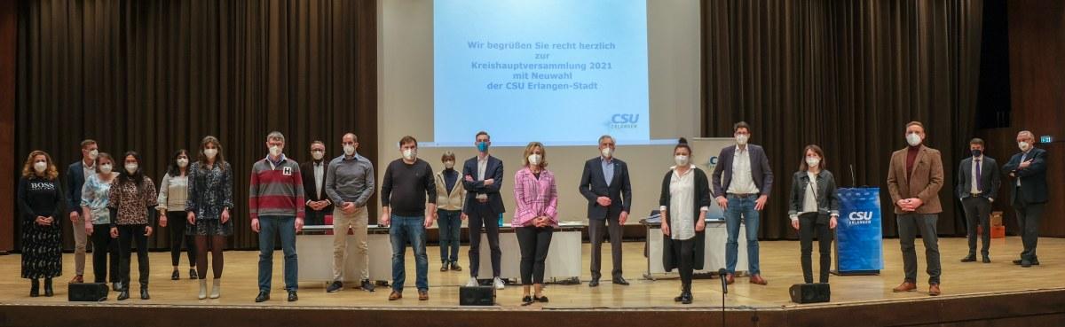 Das neu gewählte Vorstandsteam 2021 - 2013 der Erlanger CSU.